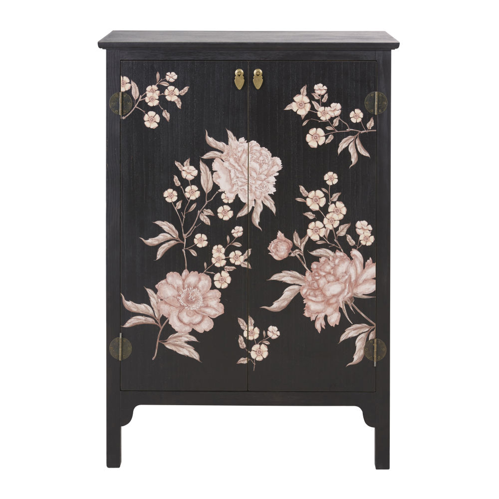 Cabinet de rangement 2 portes noir imprimé floral