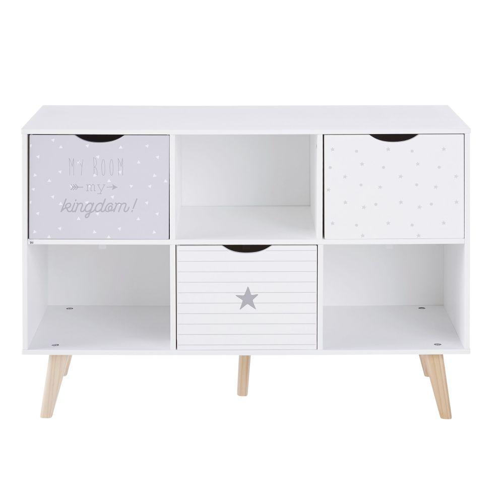 Cabinet de rangement 3 tiroirs gris et blanc à motifs