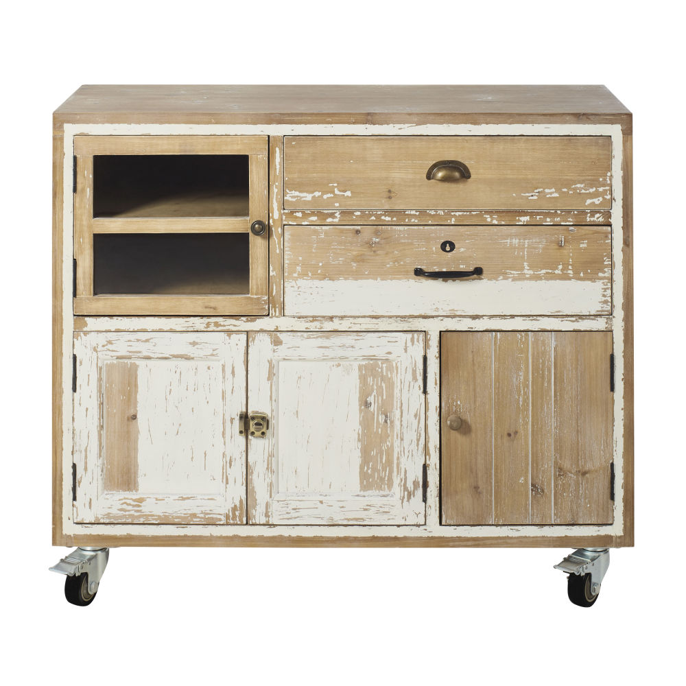 Cabinet de rangement 4 portes 2 tiroirs en pin recyclé blanchi à roulettes