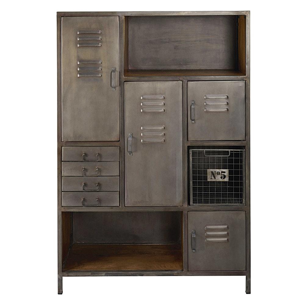 Cabinet de rangement 4 portes 4 tiroirs en métal et manguier