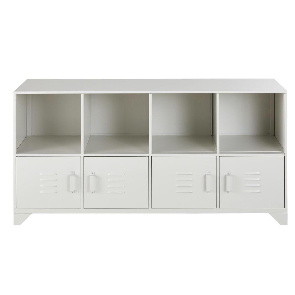 Cabinet de rangement 4 portes en métal gris clair