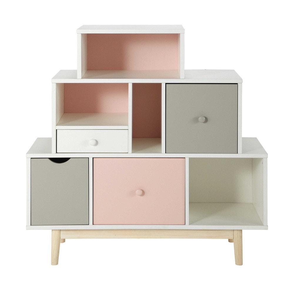 Cabinet de rangement 4 tiroirs blanc, rose et gris