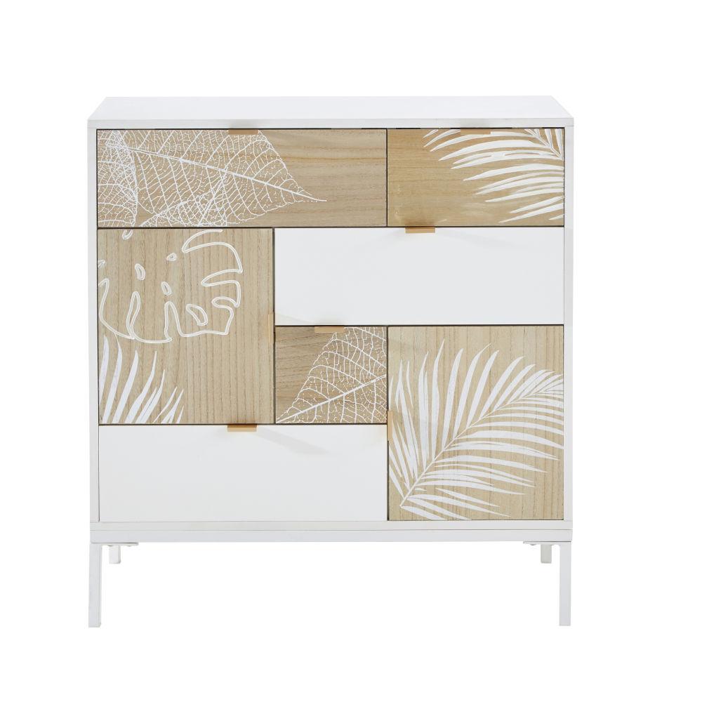Cabinet de rangement 5 portes 2 tiroirs décor sculpté