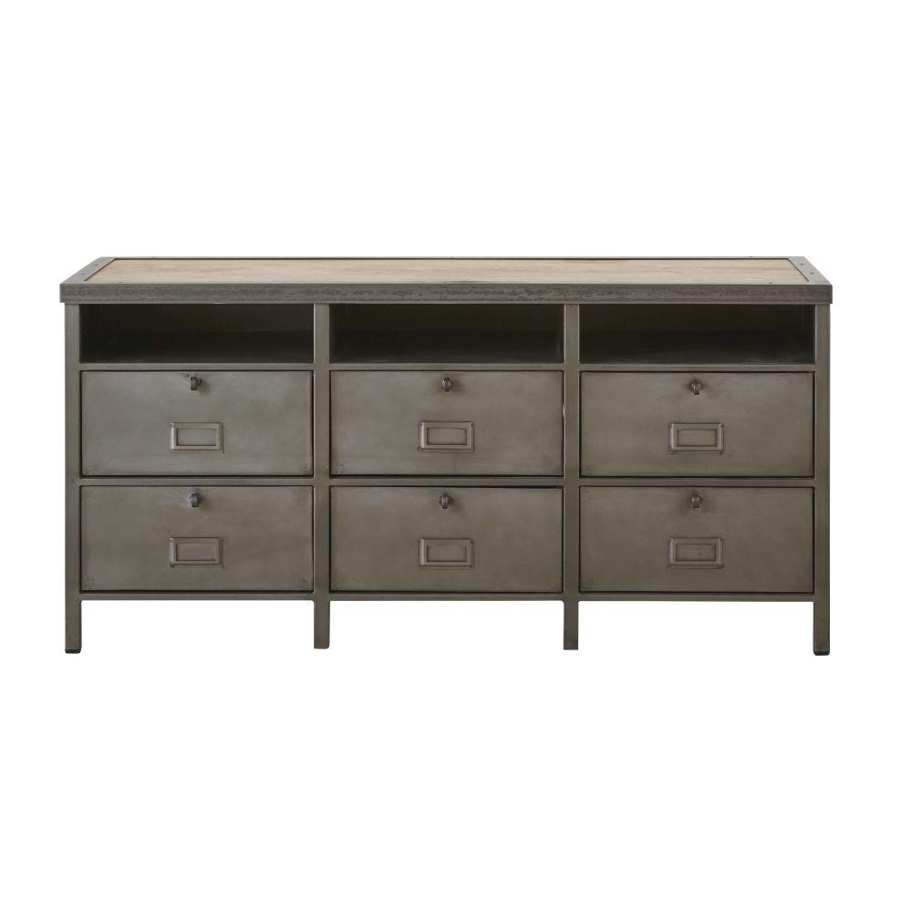 Cabinet de rangement 6 portes en métal gris et manguier