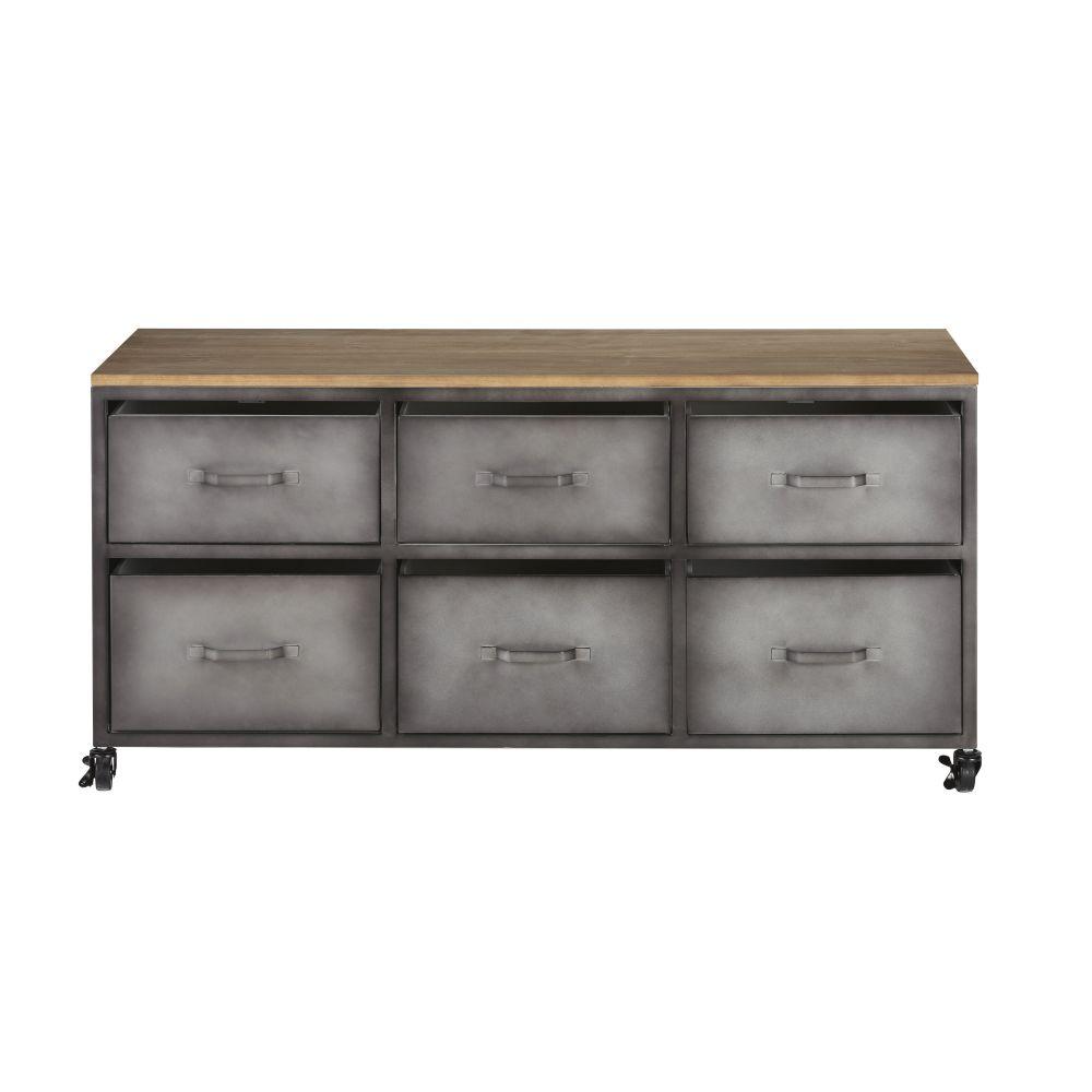 Cabinet de rangement 6 tiroirs en métal et sapin à roulettes
