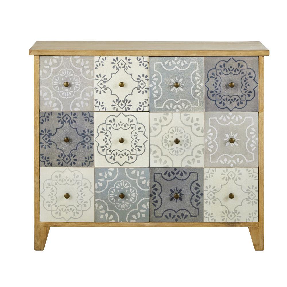 Cabinet de rangement 6 tiroirs en trompe l'œil motifs arabesques verts