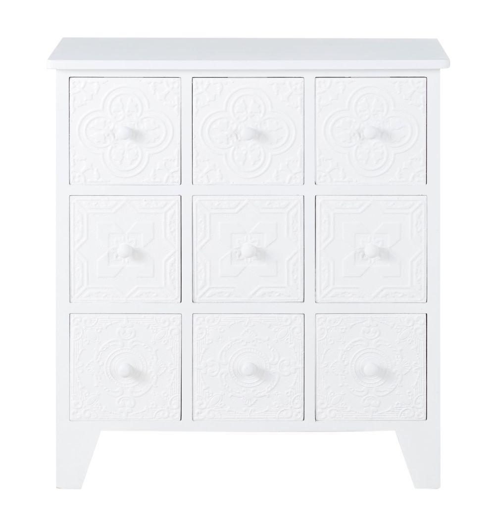 Cabinet de rangement 9 tiroirs blanc motifs arabesques