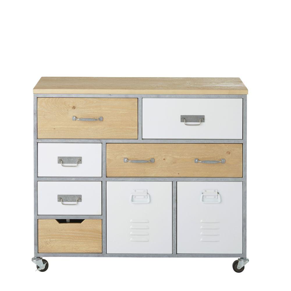 Cabinet de rangement à roulettes indus 8 tiroirs blanc