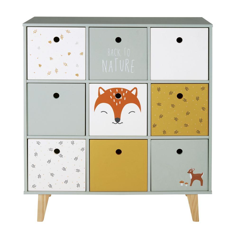 Cabinet de rangement bébé 9 tiroirs multicolore