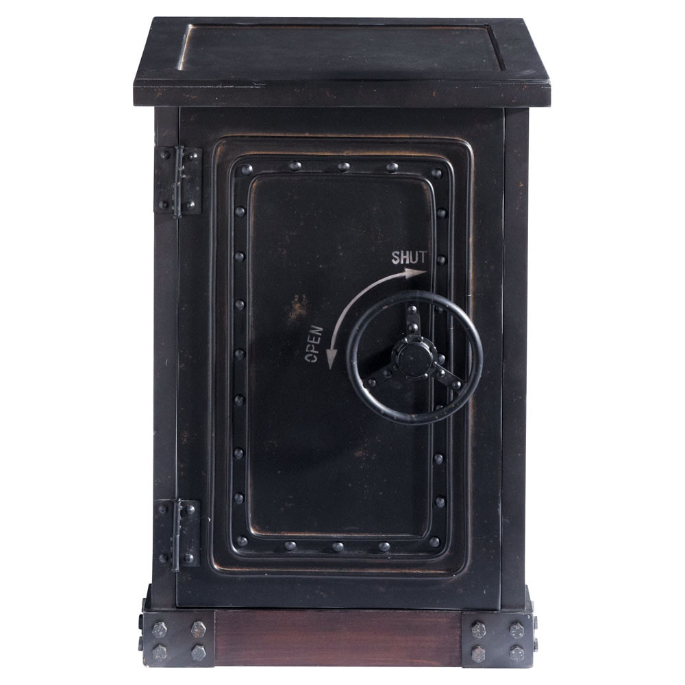 Cabinet de rangement coffre-fort en bois noir effet vieilli L 53 cm