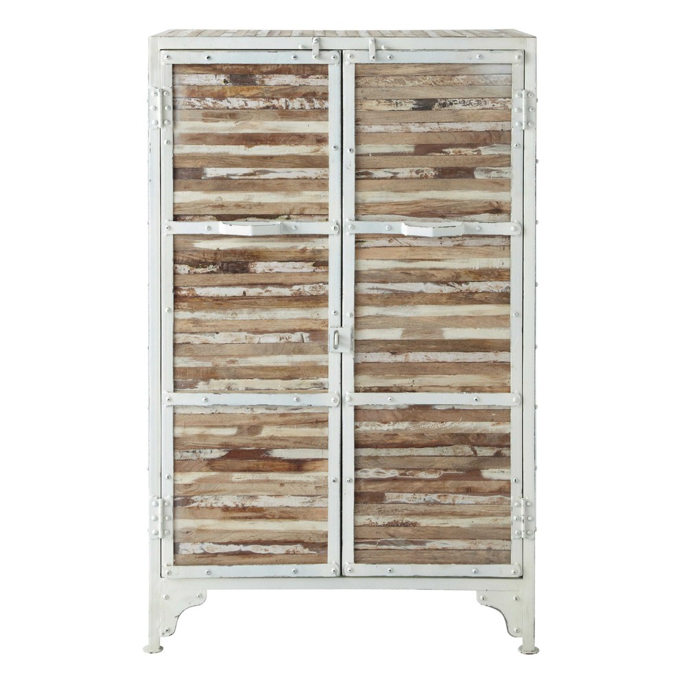 Cabinet de rangement en métal blanc L 75 cm