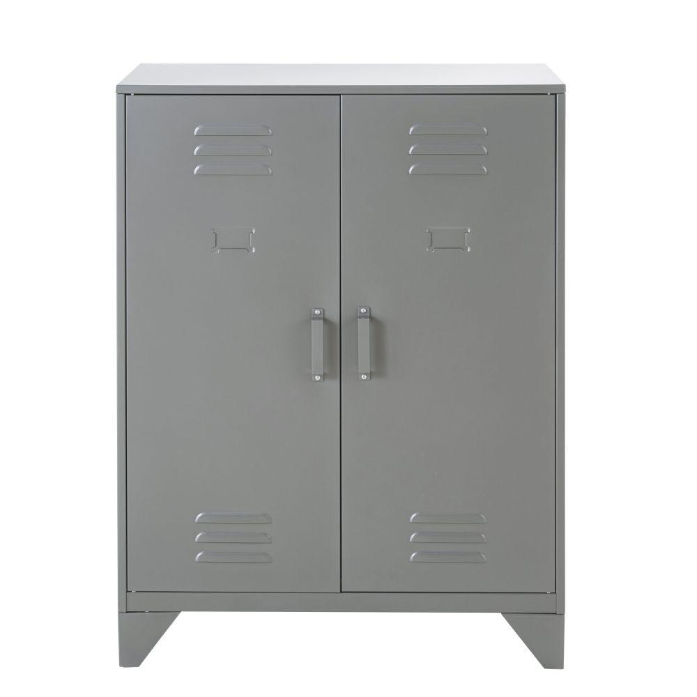 Cabinet de rangement indus 2 étagères en métal gris