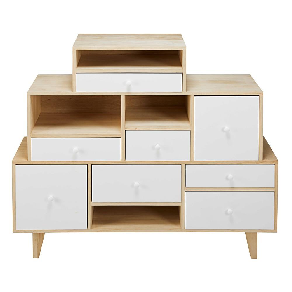 Cabinet déstructuré 8 tiroirs en paulownia blanc
