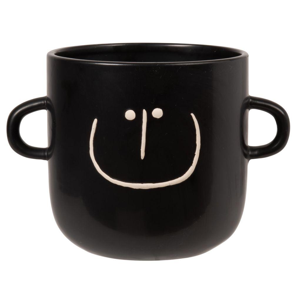 Cache-pot avec poignées en dolomite noire motif visage blanc H16