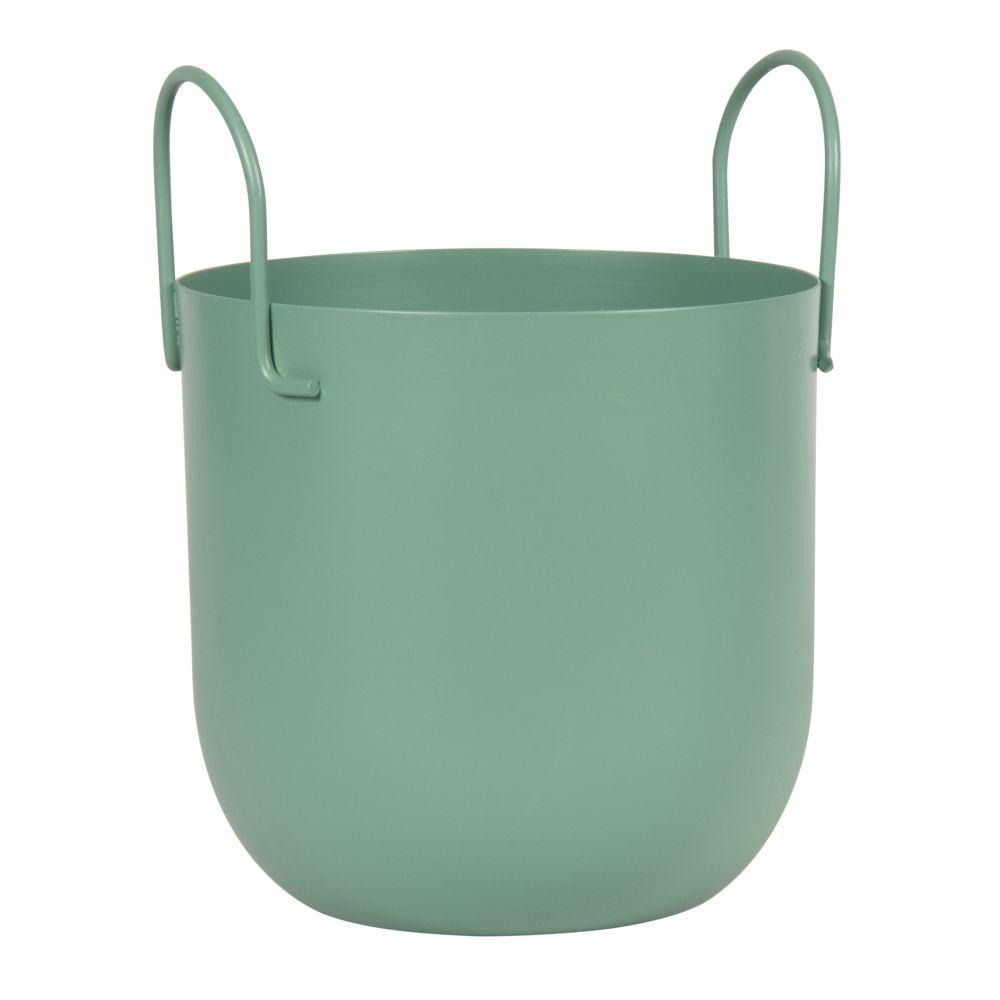 Cache-pot avec poignées en métal vert H23