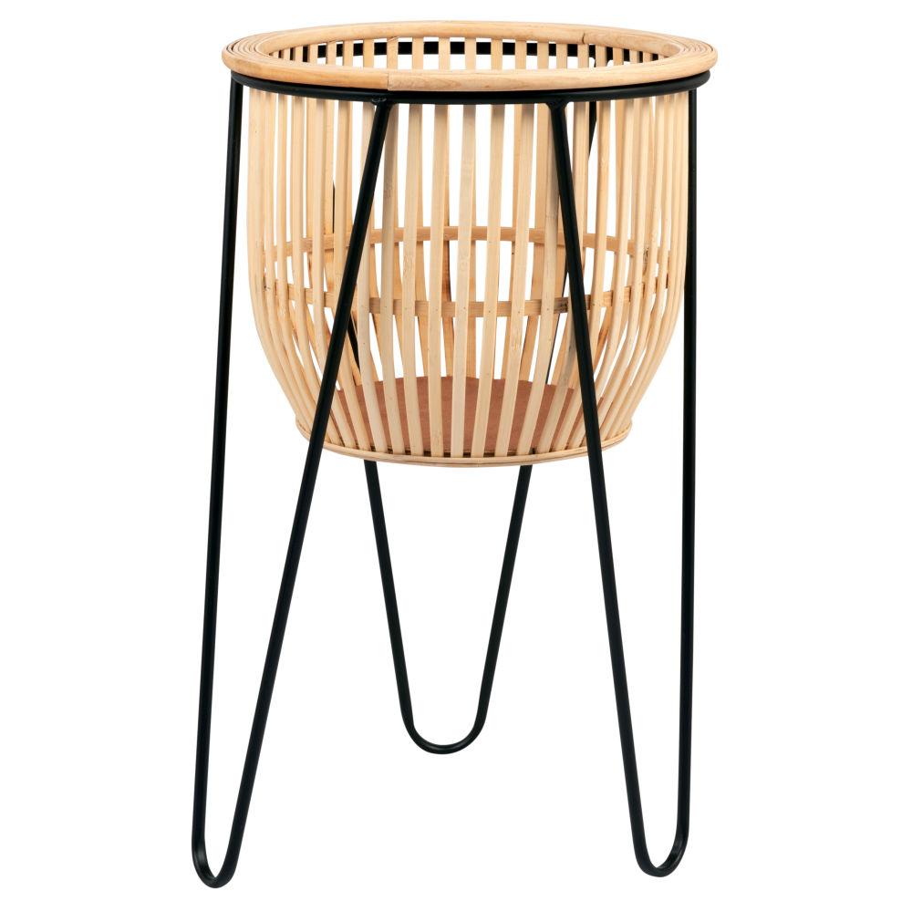 Cache-pot en bambou et métal (photo)