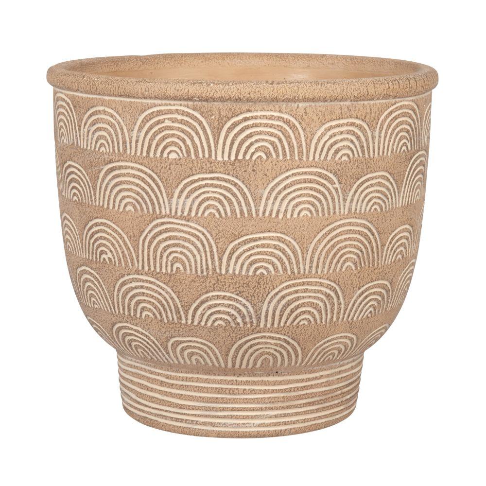 Cache-pot en ciment marron motifs arcs blancs H21