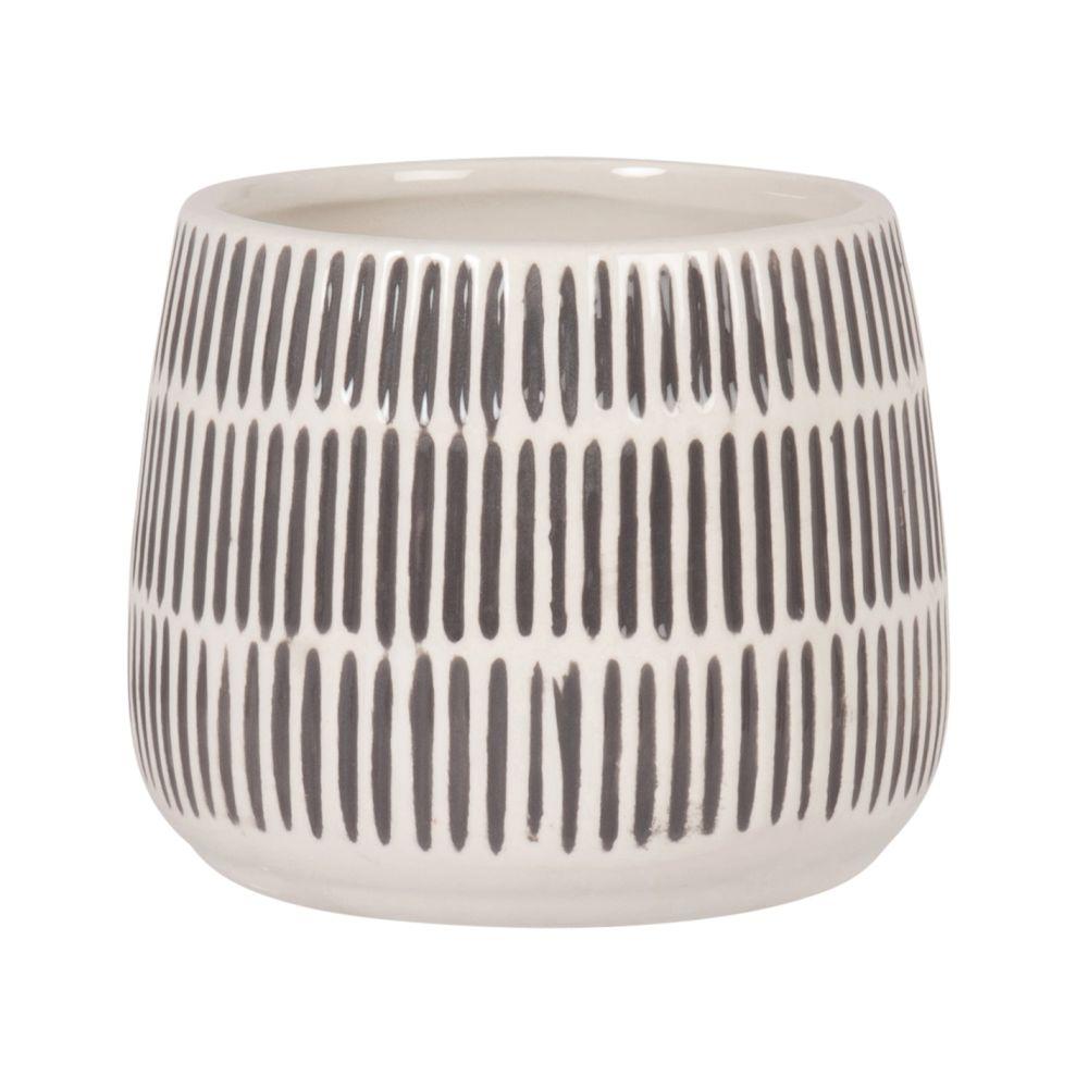 Cache-pot en dolomite blanc strié gris H11