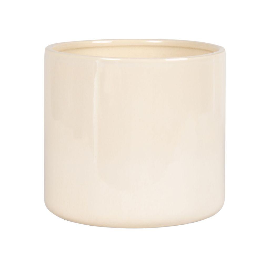 Cache-pot en faïence blanche H20