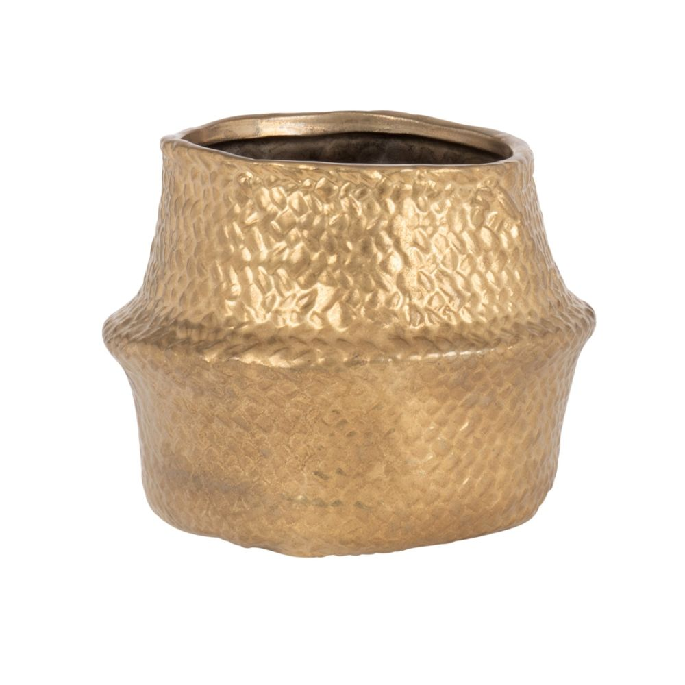 Cache-pot en grès doré effet panier H12 (photo)