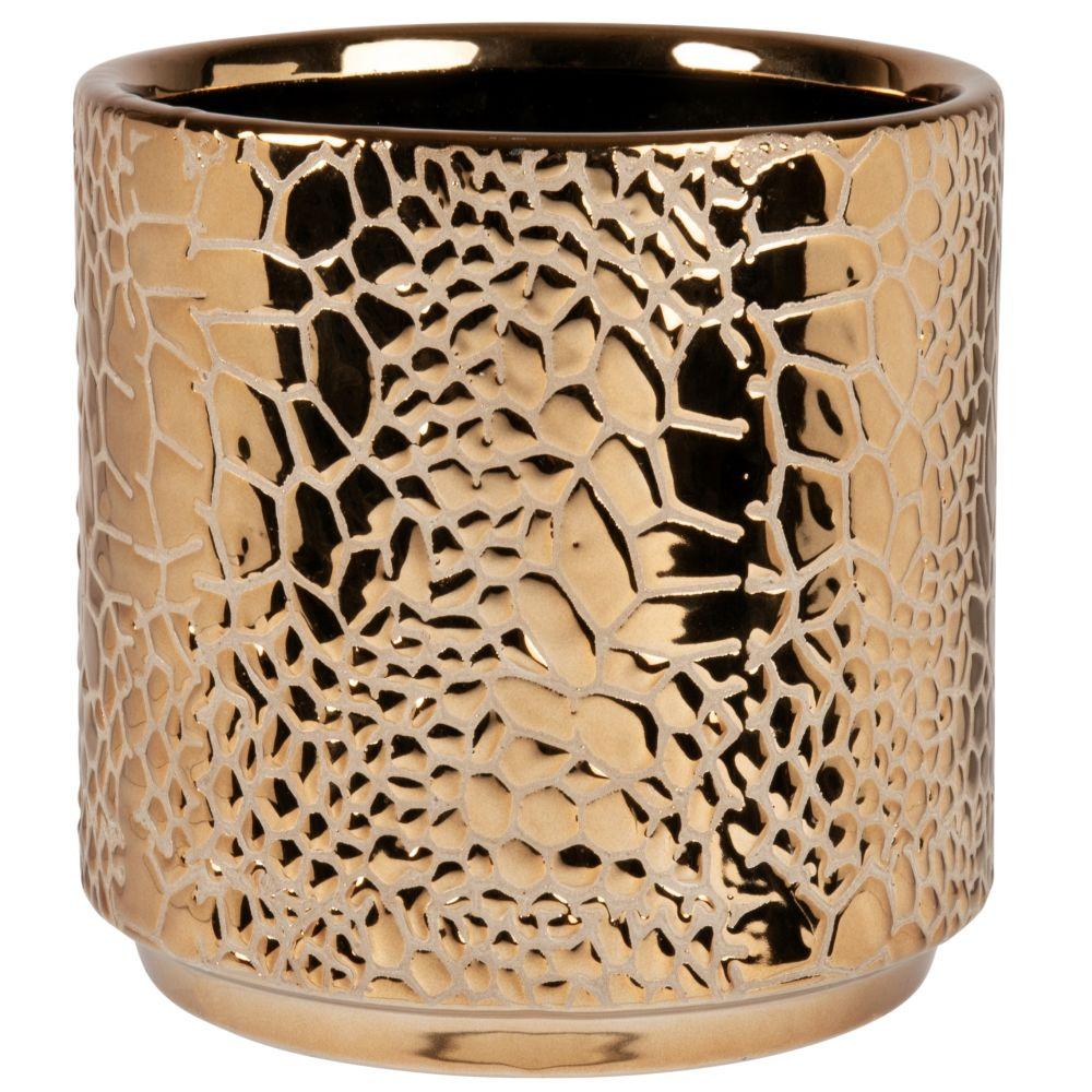 Cache-pot en grès écaillé doré H17 (photo)