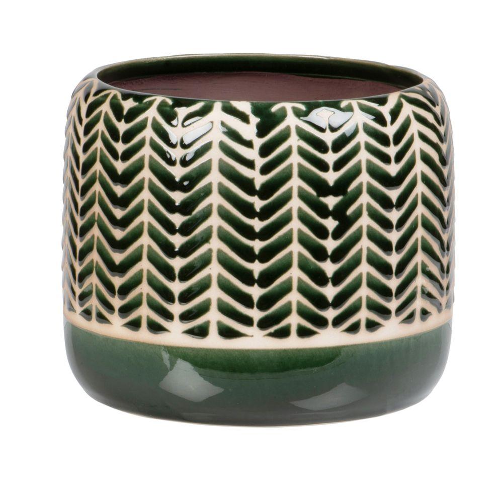 Cache-pot en grès vert à motifs graphiques beiges H15 (photo)