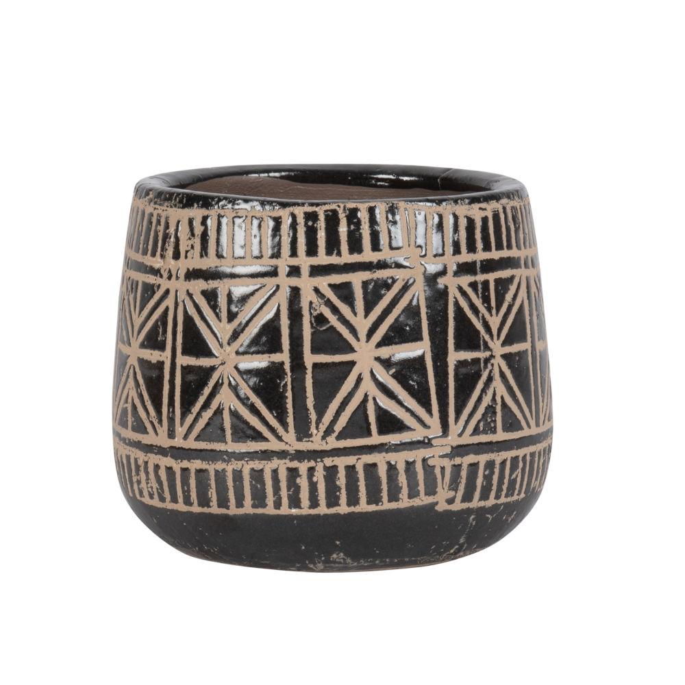 Cache-pot en terre cuite noire motifs ethniques H14