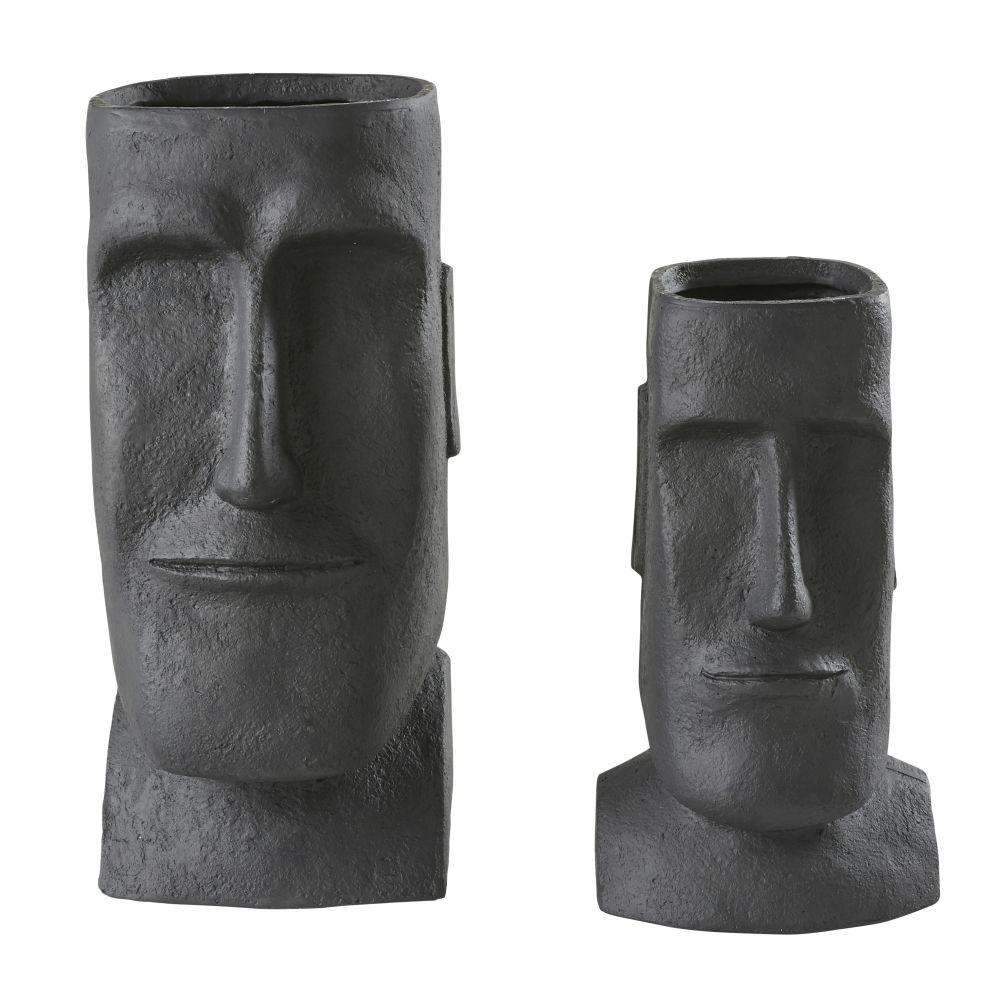 Cache-pots en fibre de verre noir H65 (x2)