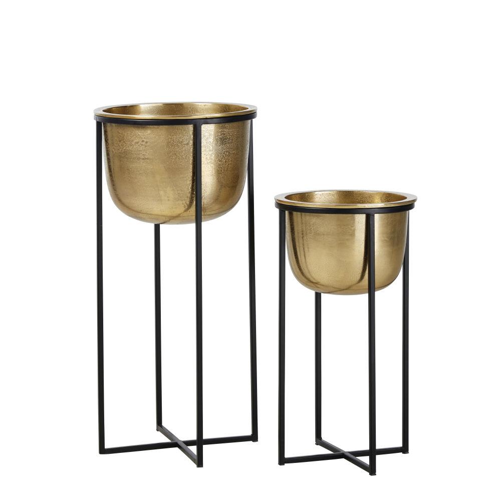 Cache-pots en métal doré H62 (x2)