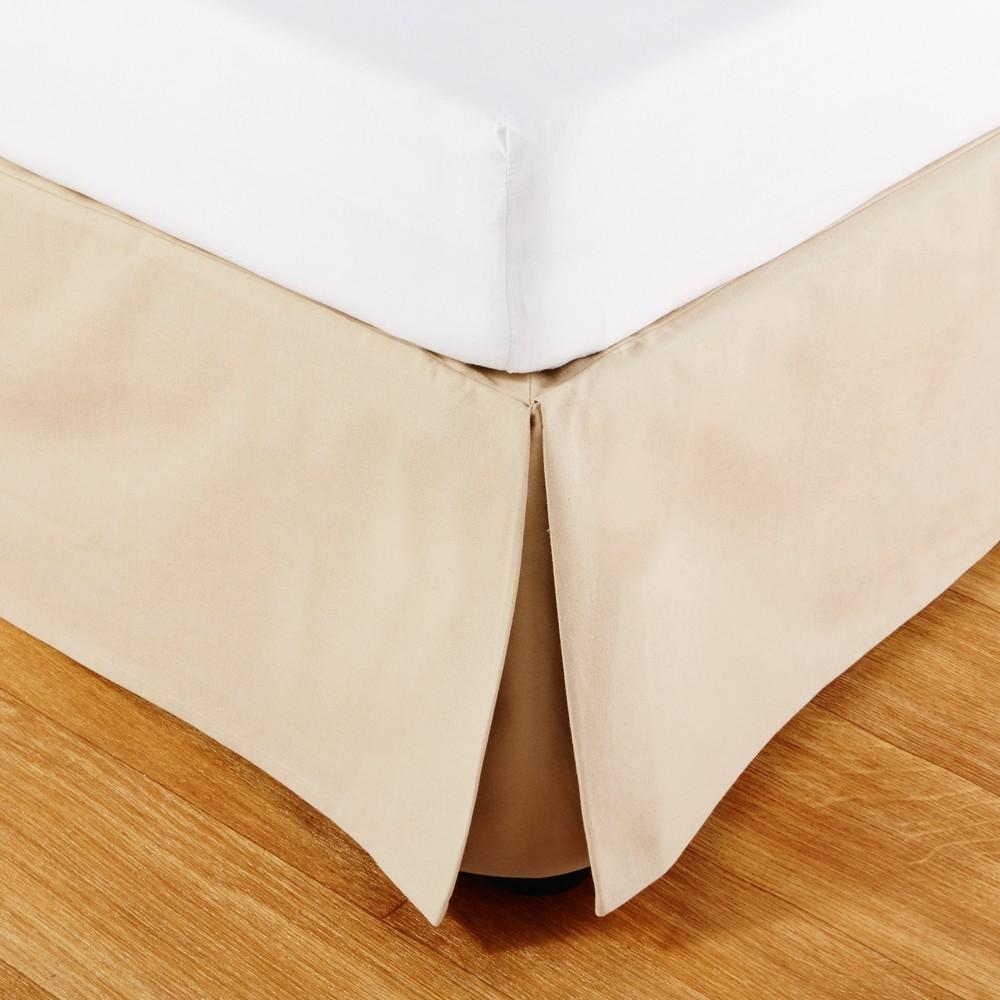 Cache-sommier 140x190 en coton beige (photo)