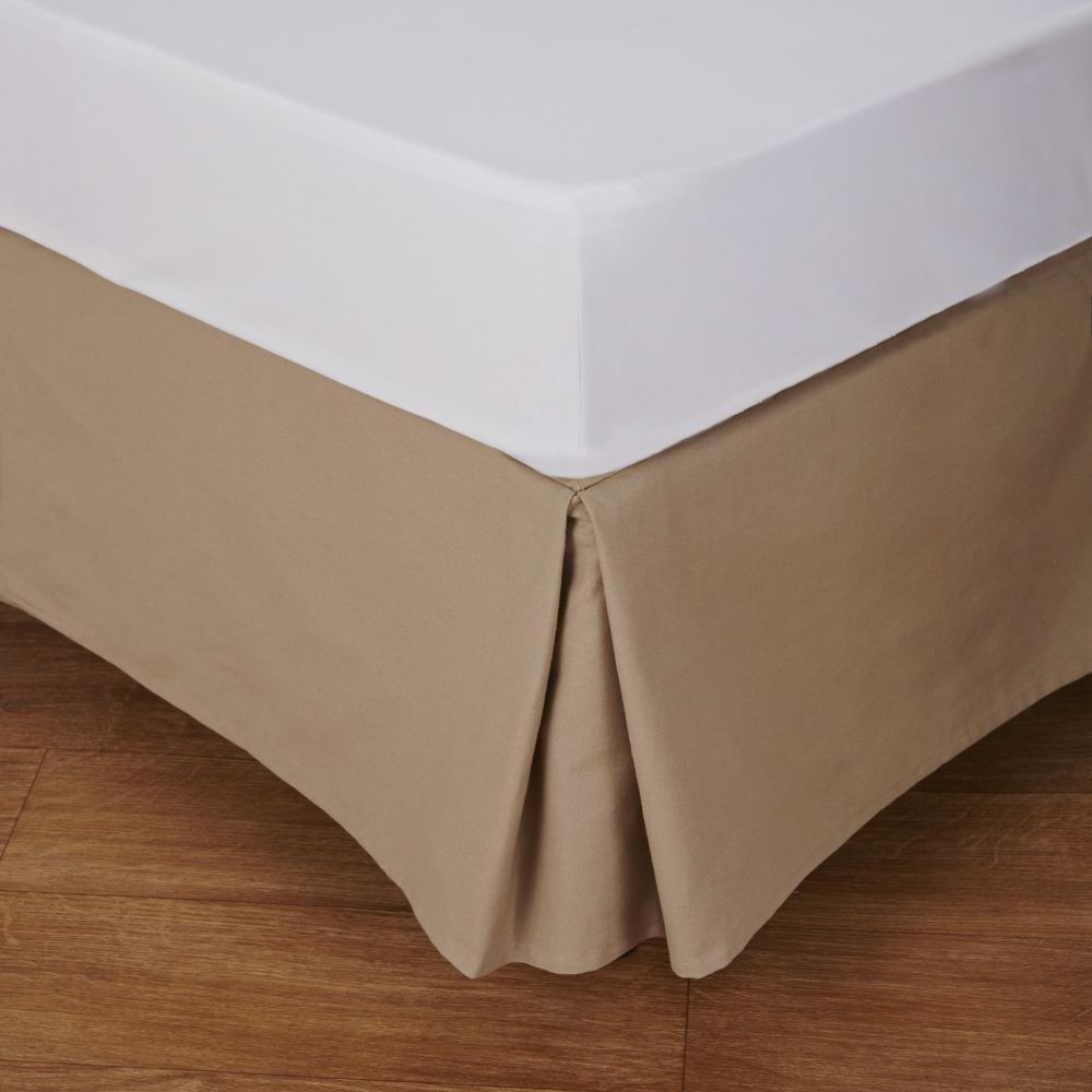 Cache-sommier 160x200 en coton beige (photo)