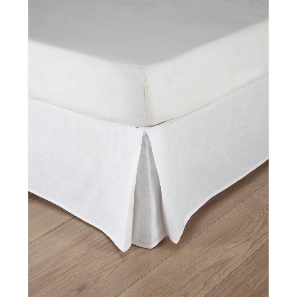 Cache-sommier 160x200 en coton et lin lavé blancs (photo)
