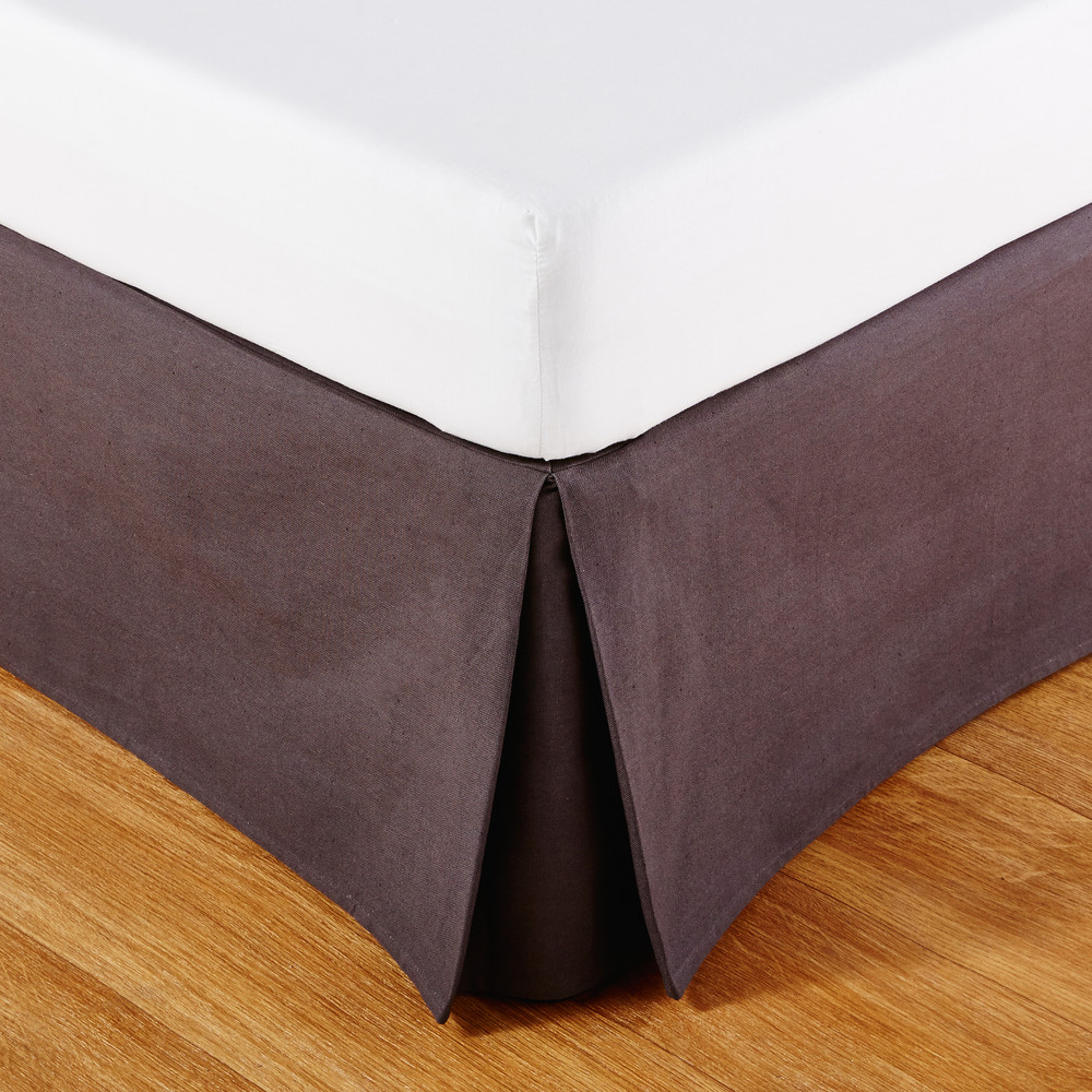 Cache-sommier 160x200 en coton gris anthracite (photo)