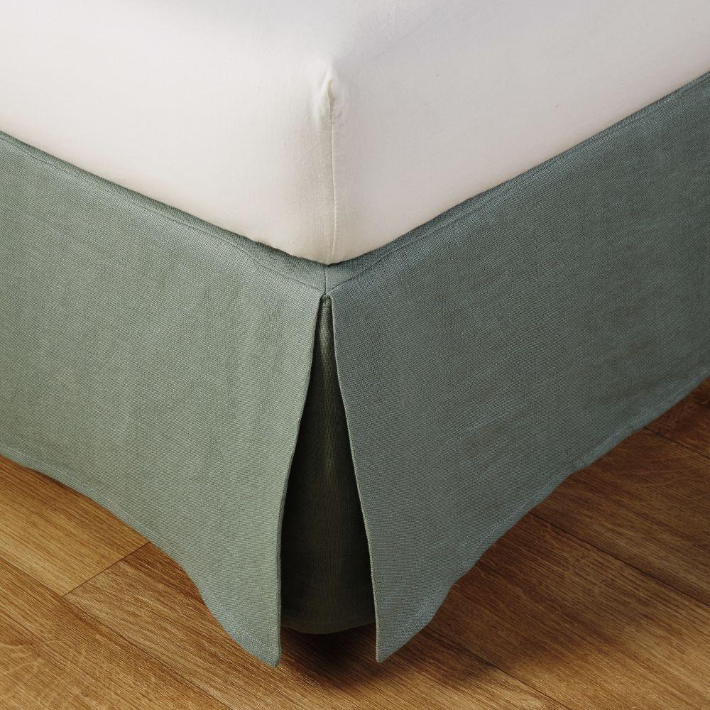 Cache-sommier 160x200 en lin lavé vert jade