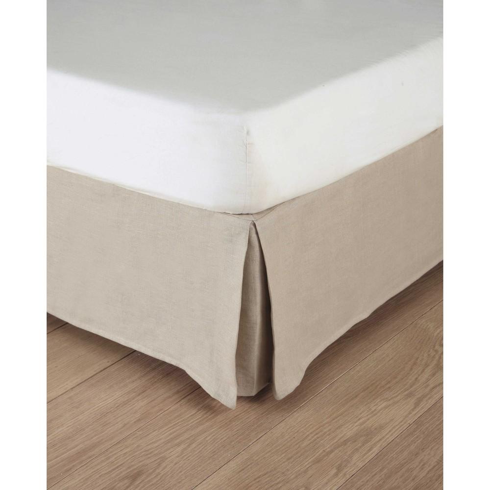 Cache-sommier 180 x 200 cm en lin lavé beige (photo)