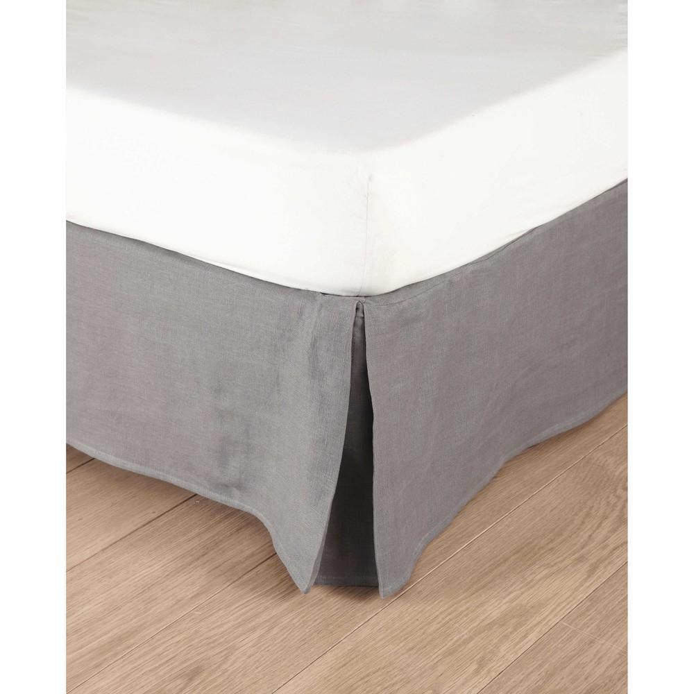 Cache-sommier 180 x 200 cm en lin lavé gris (photo)