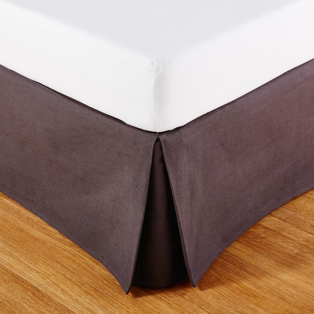 Cache-sommier 180x200 en coton gris anthracite