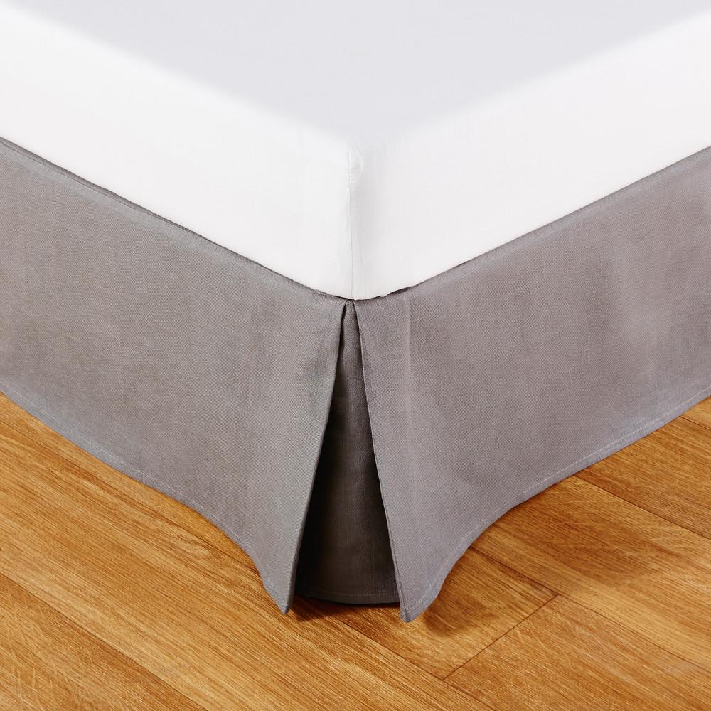 Cache-sommier 90x190 en lin gris