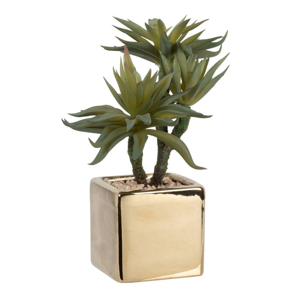 Cactus artificiel pot en grès doré
