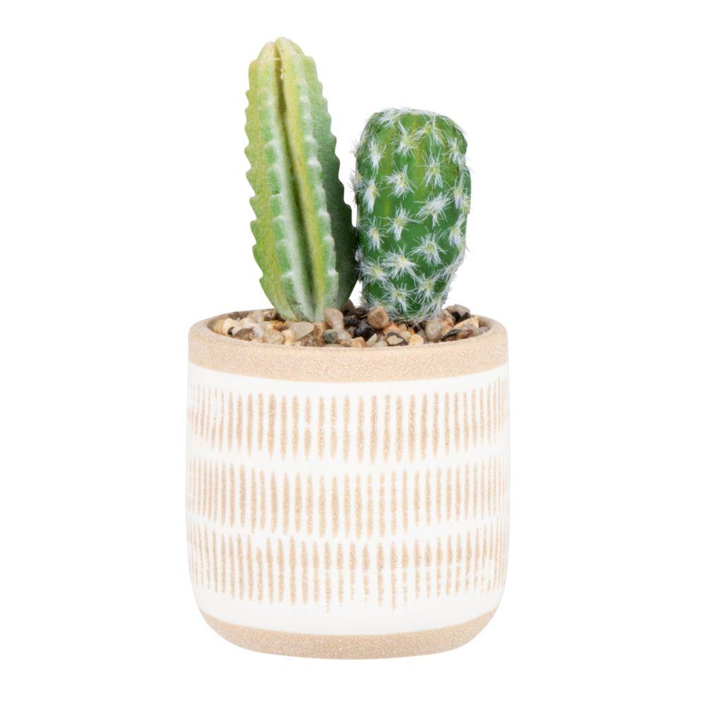 Cactus artificiels et pot en grès beige