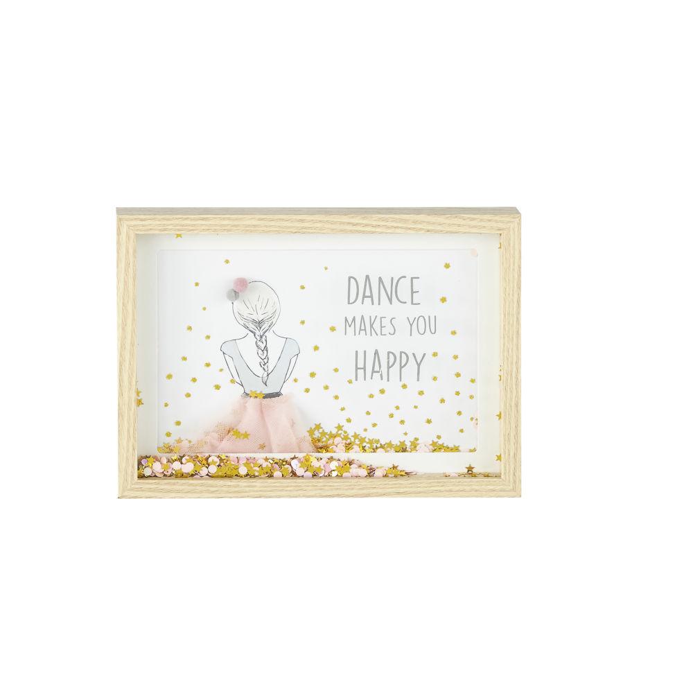 Cadre imprimé danseuse à paillettes rose et doré 25x18