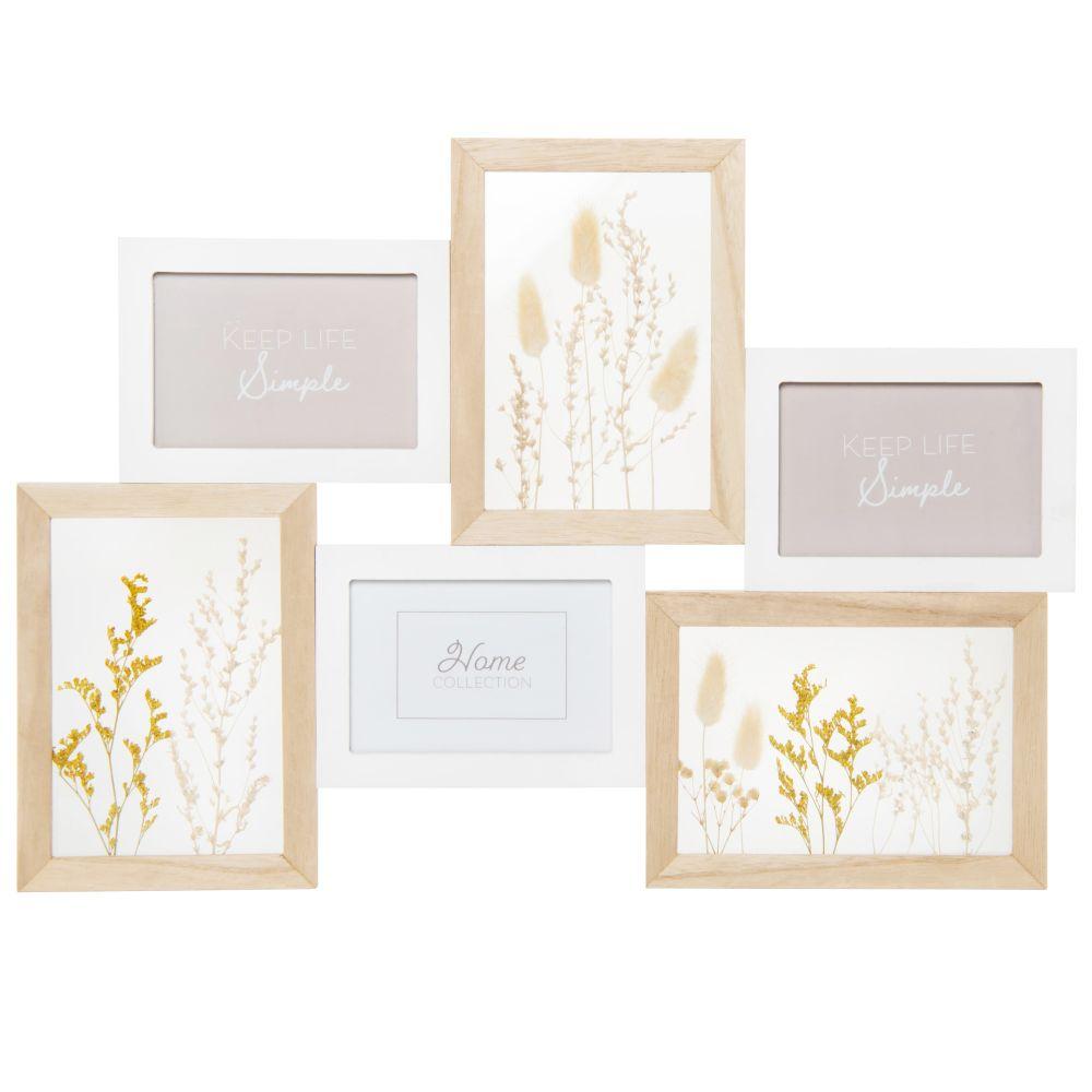 Cadre multivues 3 photos et fleurs séchées 48x33