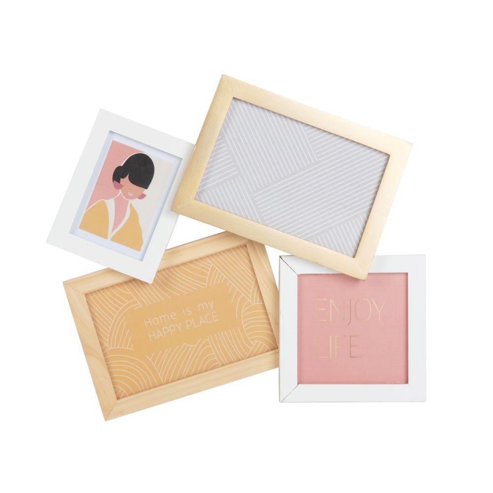 Cadre multivues 4 photos doré et blanc 31x30