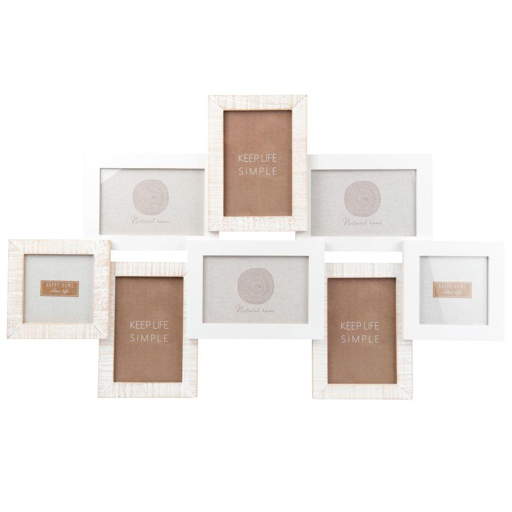 Cadre multivues 8 photos en pin blanc et beige