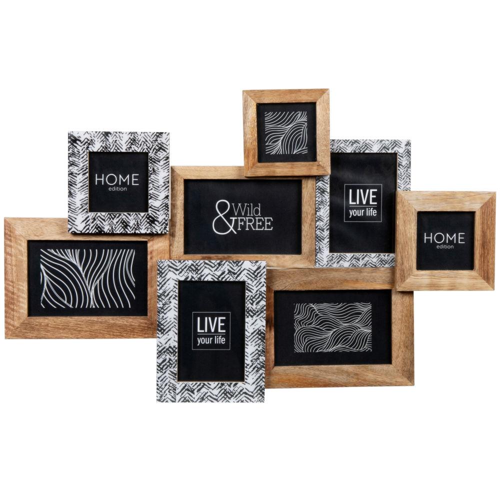 Cadre multivues 8 photos marron, blanc et noir 58x37