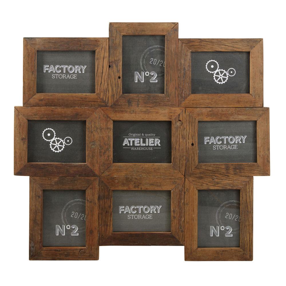 Cadre multivues 9 photos en bois recyclé 78x74