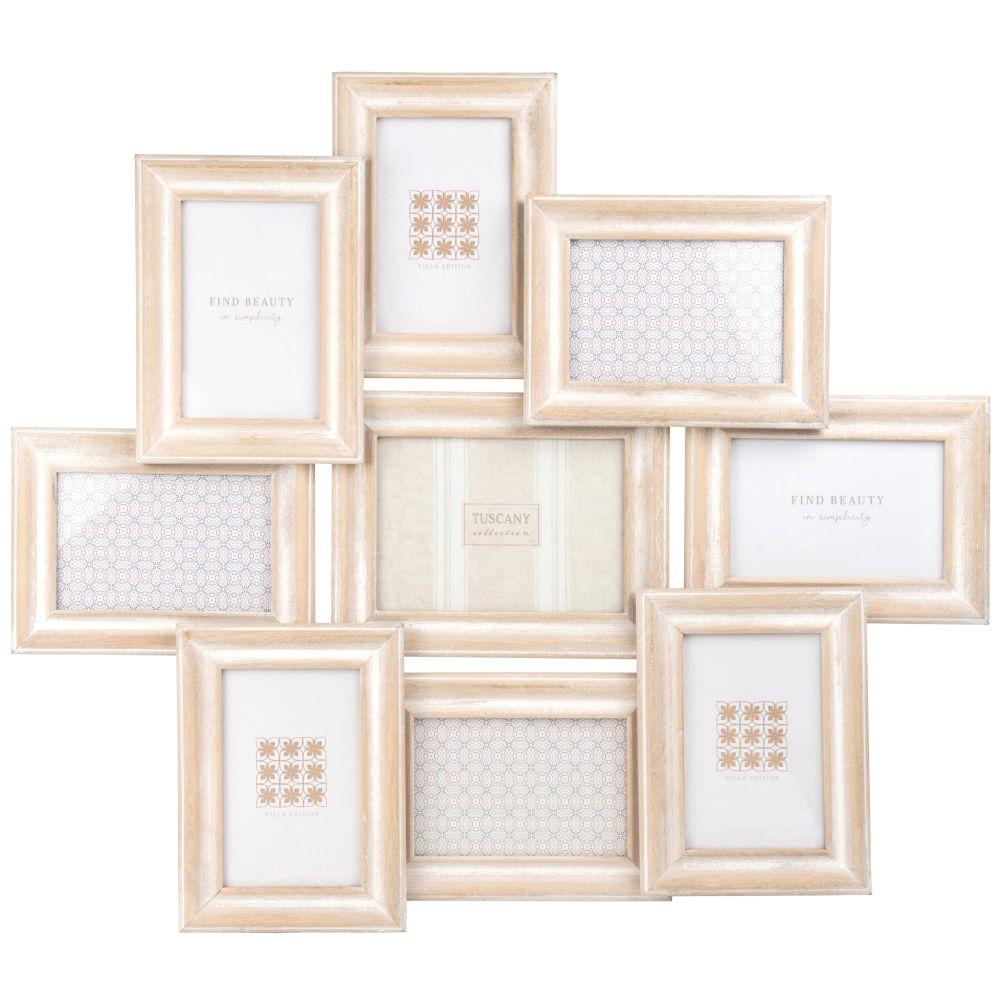 Cadre multivues 9 photos en paulownia blanchi 65x56