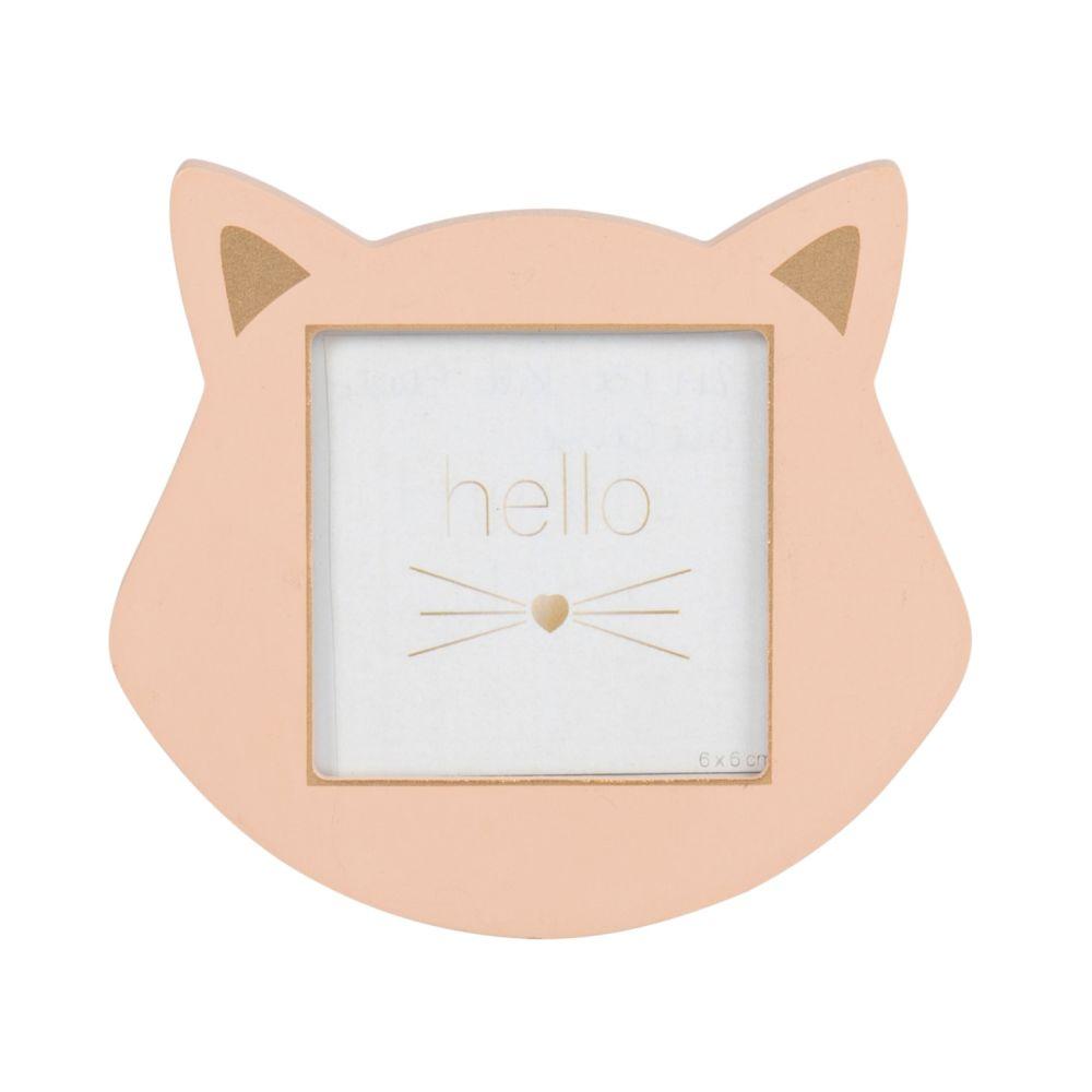 Cadre photo chat rose et doré 6x6