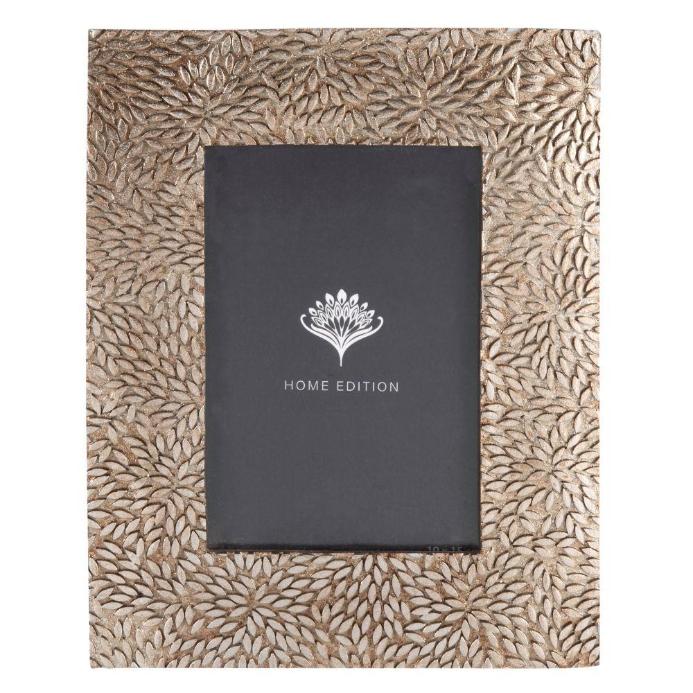 Cadre photo coloris bronze motif floral 10x15