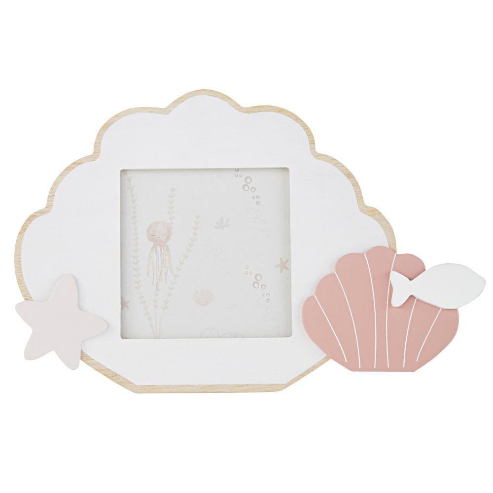 Cadre photo coquillage en pin rose, blanc et bleu 10x10